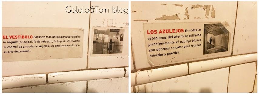 carteles explicativos de la estación fantasma de chamberí