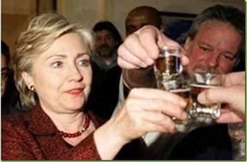 hillary-drinking