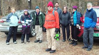 Hikers at Skylight Pond trailhead in Ripton