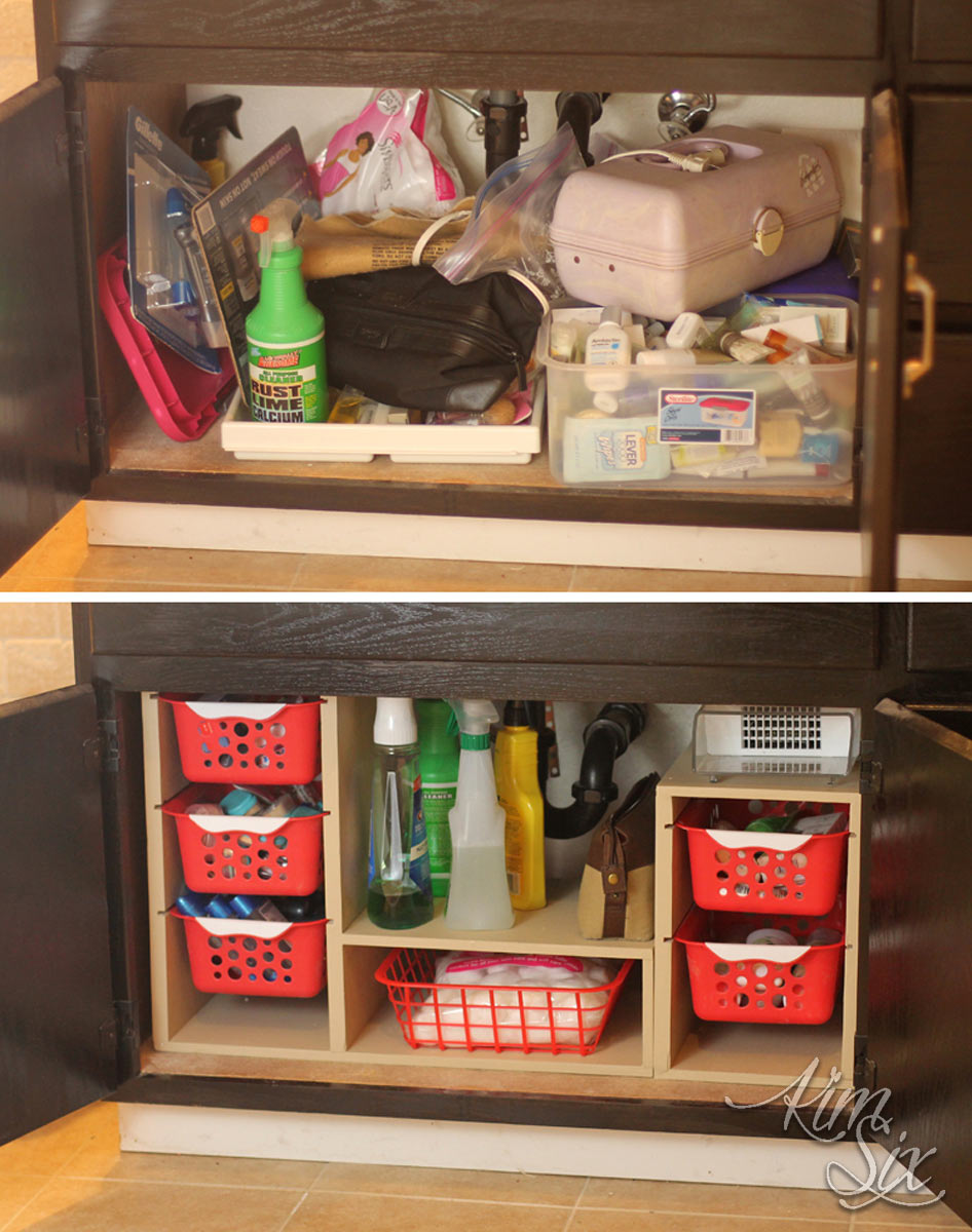 Under sink cabinet before and after organization