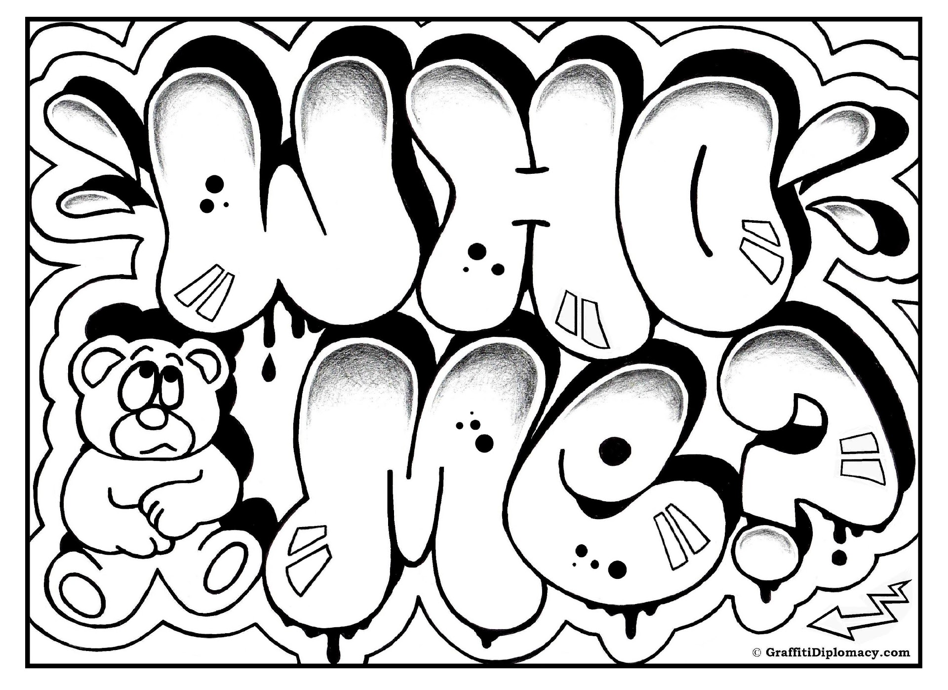 Top Graffiti Words Coloring Pages For Teenagers Photos Kids Children And Adult Coloring Pages