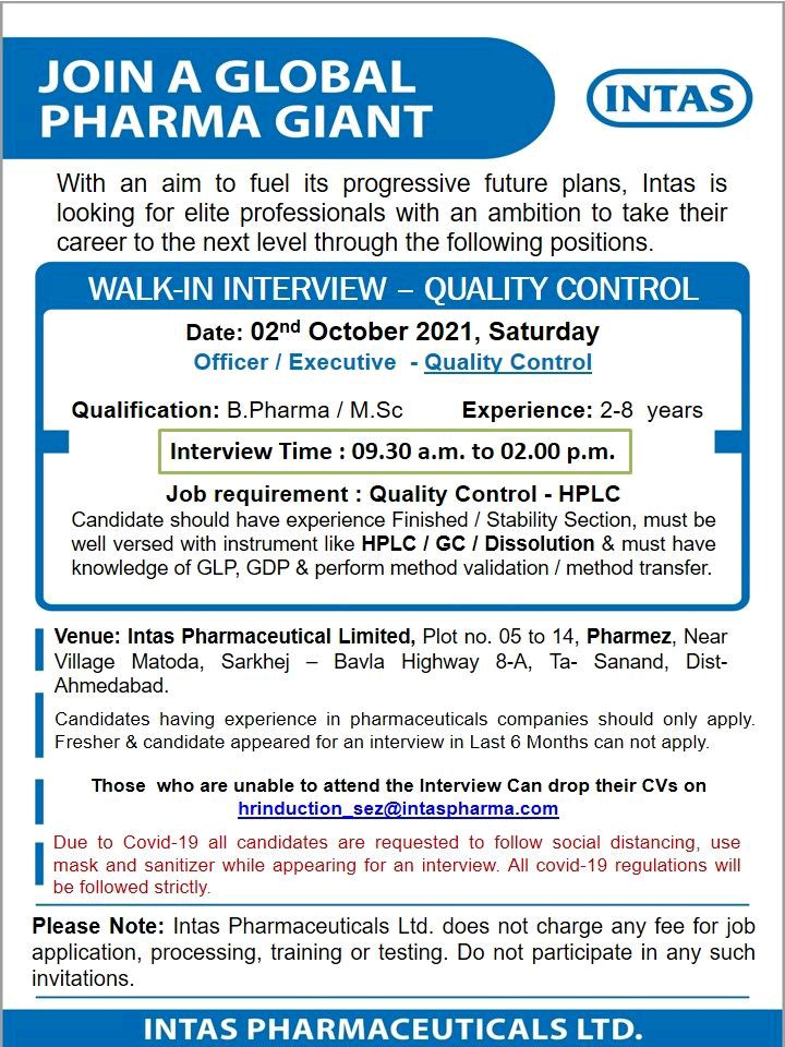 Walk-in By Intas For Quality Control Department on 2nd October 2021