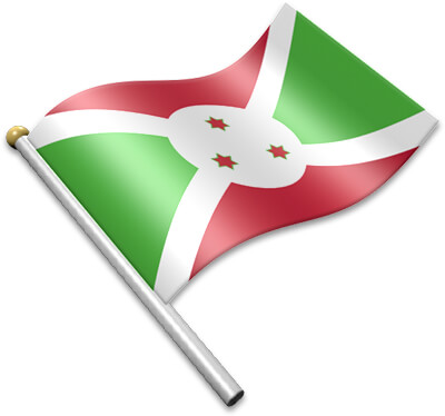 The Burundian flag on a flagpole clipart image