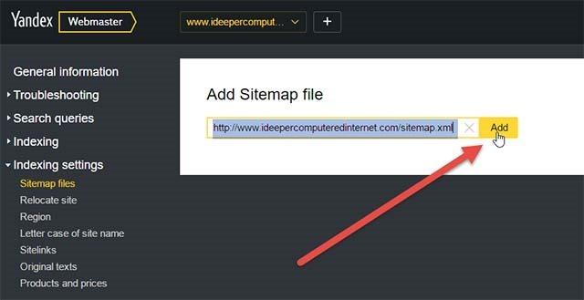 aggiungere-sitemap-yandex