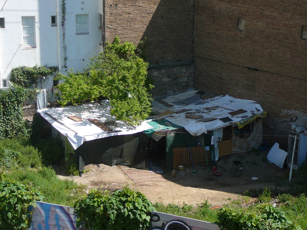 Shanty near Plaza de las Glorias Catalanas, Barcelona