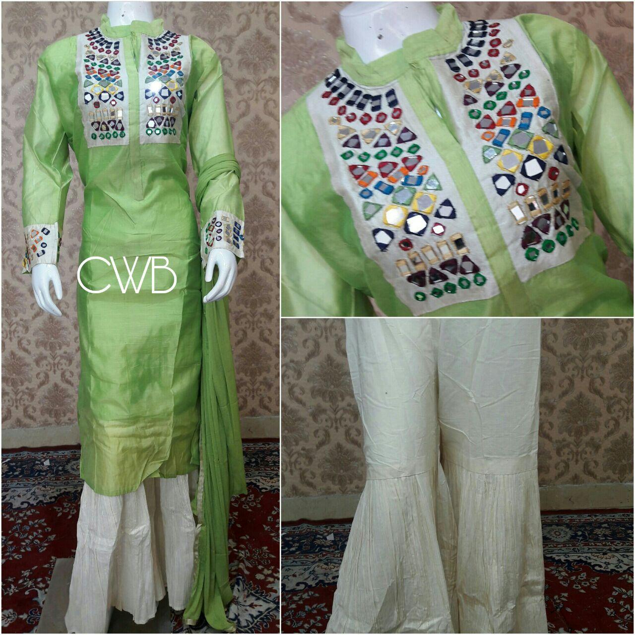 Shirt design with plazo - Shirt Chanderi Cotton Inner Attached Bust Size 44 Aprx Bottom Cotton Designer Plazo Stylish Waist 36 Aprx Dupata Chiffon Code Pm