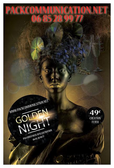 création flyers soirées thème Golden Night