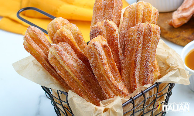 Air Fryer Churros in a french fry basket
