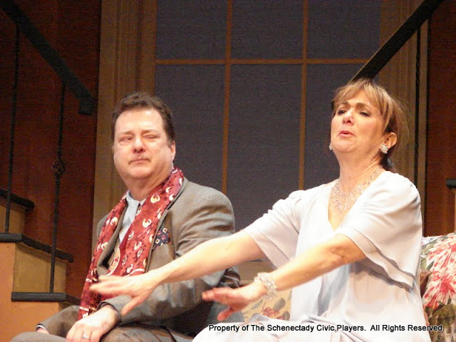 Richard Michael Roe and Benita Zahn in THE ROYAL FAMILY (R) - December 2011.  Property of The Schenectady Civic Players Theater Archive.