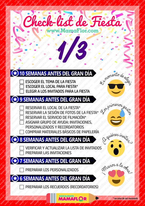 Check List: Organizar Fiesta de Cumpleaños (Página 1)