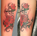 anchor and rose tattoo Ideas 7