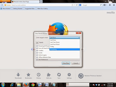 how to erase google search history firefox