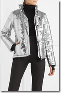 Topshop SNO metallic jacket with removable faux fur trimmed hood