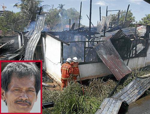 PADAM...bomba memadam api dalam kebakaran di Kampung Nagasiba Kobusak, semalam. Gambar kecil, Justin.