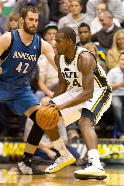 Wearing Brons Paul Millsap Rocks Nike LeBron X iD Jazz PEs