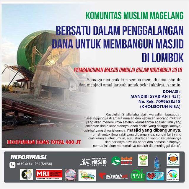 Bersatu dalam penggalangan dana untuk membangun Masjid di Lombok