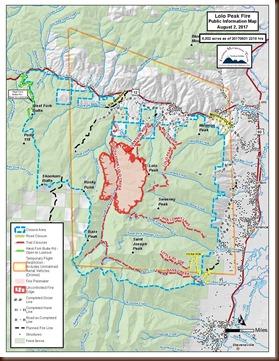 Lolo Peak Fire map - 2 Aug 2017