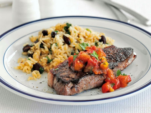 Steak with Mexican rice & beans