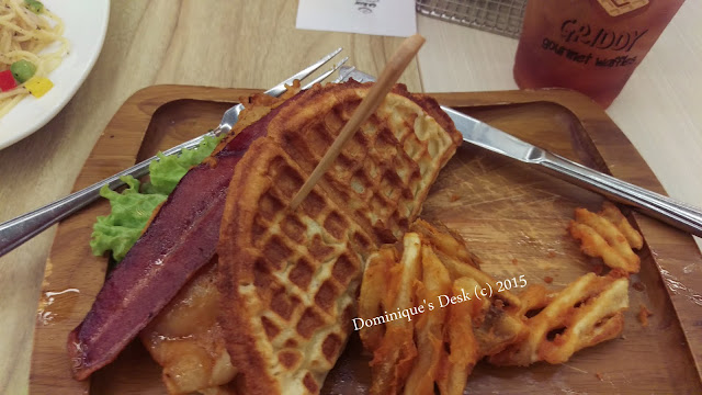 Waffle burger with fries