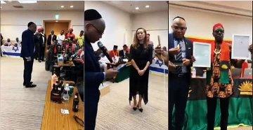 BREAKING: Japanese Govt recognize Biafra, Gives Nnamdi Kanu Certificate