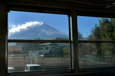 View of Mount Fuji from the Fujisan stop while taking the Fujikyu Railway
