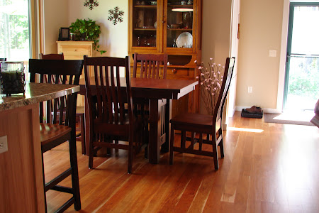 "50"" x 34"" Mission Dining Table and Raised Mission Chairs in Pecan Oak"