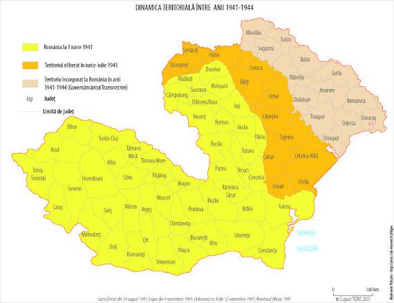 Harta administrativ-teritorială a României între 1941 - 1944