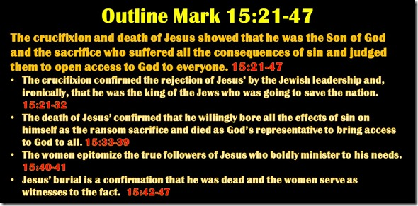 Mark 15.21-47 outline