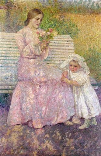 Leon De Smet – Mère et Enfant sur Banc