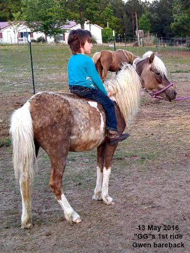 Gwen riding GG bareback.