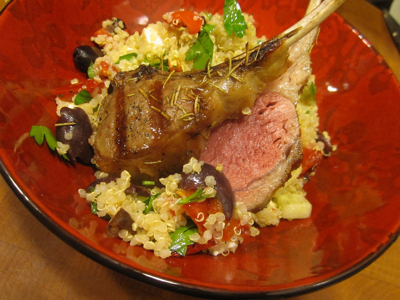 Grilled Lamb Chops with Mediterranean Quinoa Salad