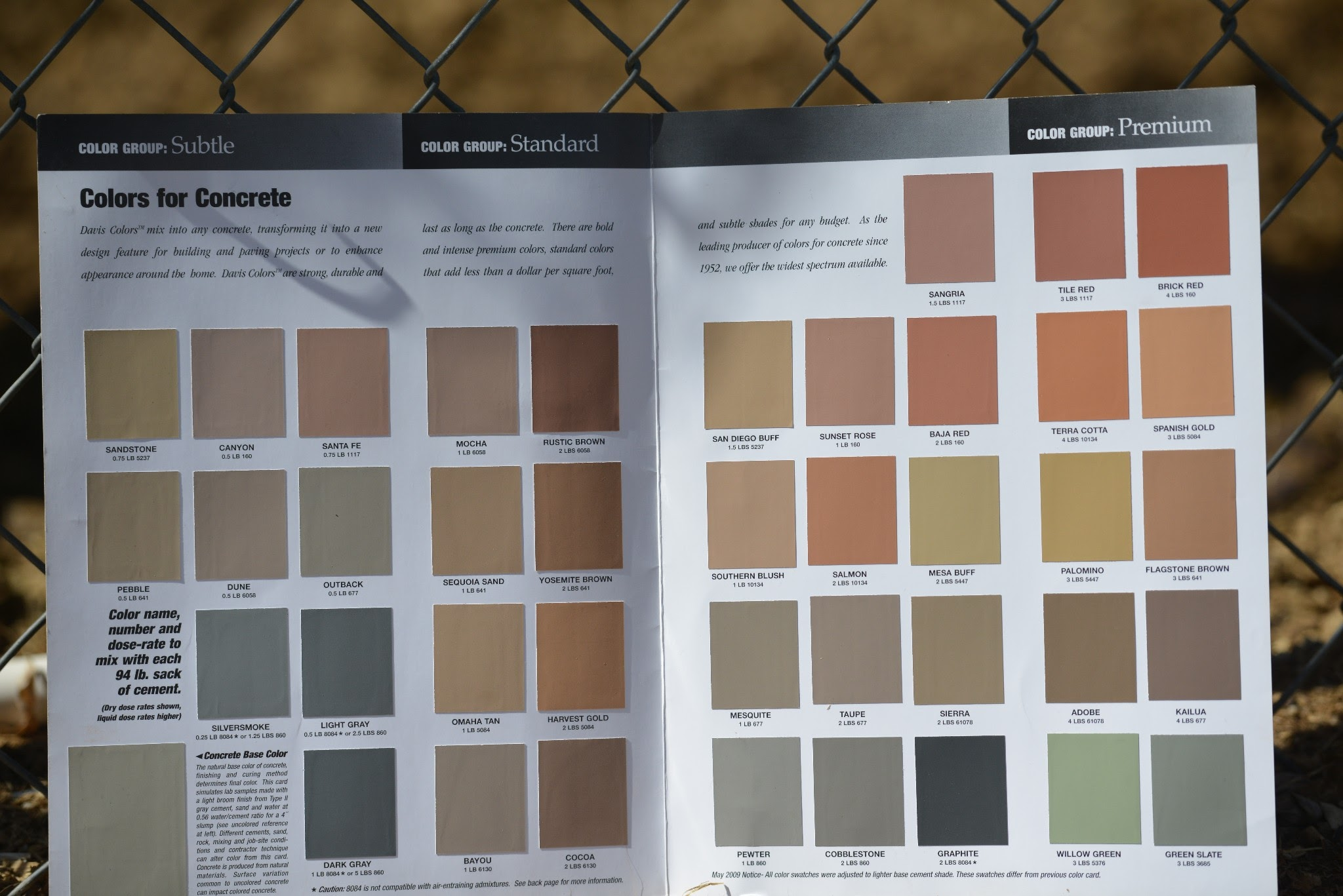 We use all colors from the davis color chart colors of curb by