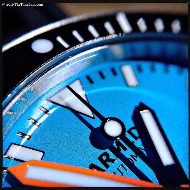 Armida A7 stainless steel blue dial macro