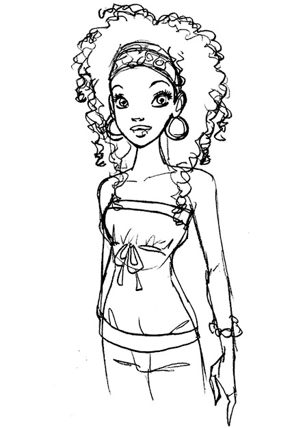 African Woman Coloring Page