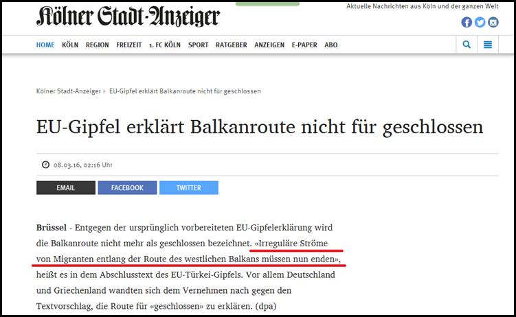 Nicht geschlossene Balkanroute 8.3.2016