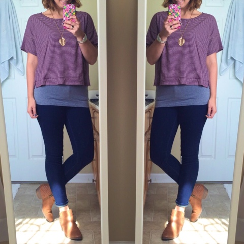 how to wear ankle boots, mom style, crop tee