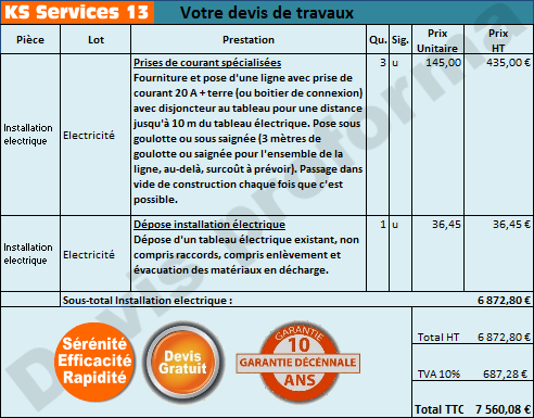 Ks Services 13 Co T D Une R Fection Lectrique Et Devis