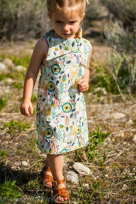 Love the asymmetrical collar - Fresh Bloom Frock by Blank Slate Patterns sewn by Sew a Straight Line - Girls dress sewing pattern