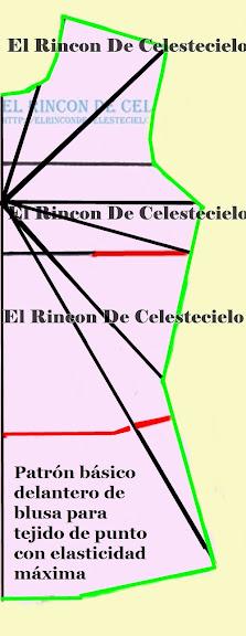 Patrón básico de blusa para tejido de punto con elasticidad máxima en ambos sentidos