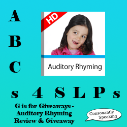 ABCs 4 SLPs: G is for Giveaways - Auditory Rhyming Review and Giveaway image