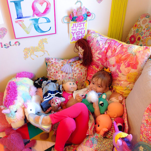 Girls Rainbow Room Decor Interior Barnrum Liberty Fabric Addict Handmade Rhapsody and Thread Adairs Unicorn Love Three Little Foxes Heart Top Zilvi Dreamer Tall Blank Wall Print Rainbows and Whimsy Feather Crown Softies Toys Harlequin Australian Kids Rooms