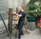 Andy Cunningham trying out the dummy at Ip Man Tong.