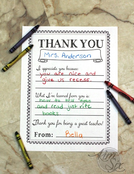 Teacher thank you appreciation week printable