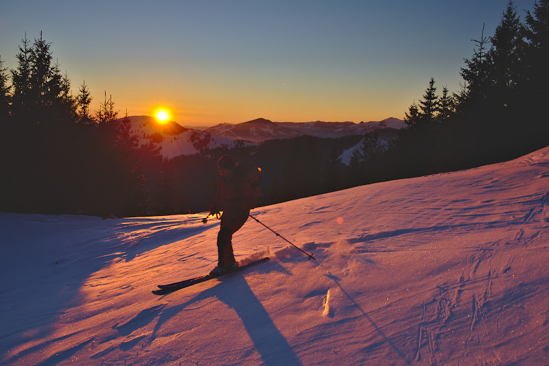 Sunset skiing.