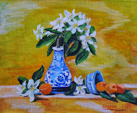 Still Life Apricots with apple flowers in a vase