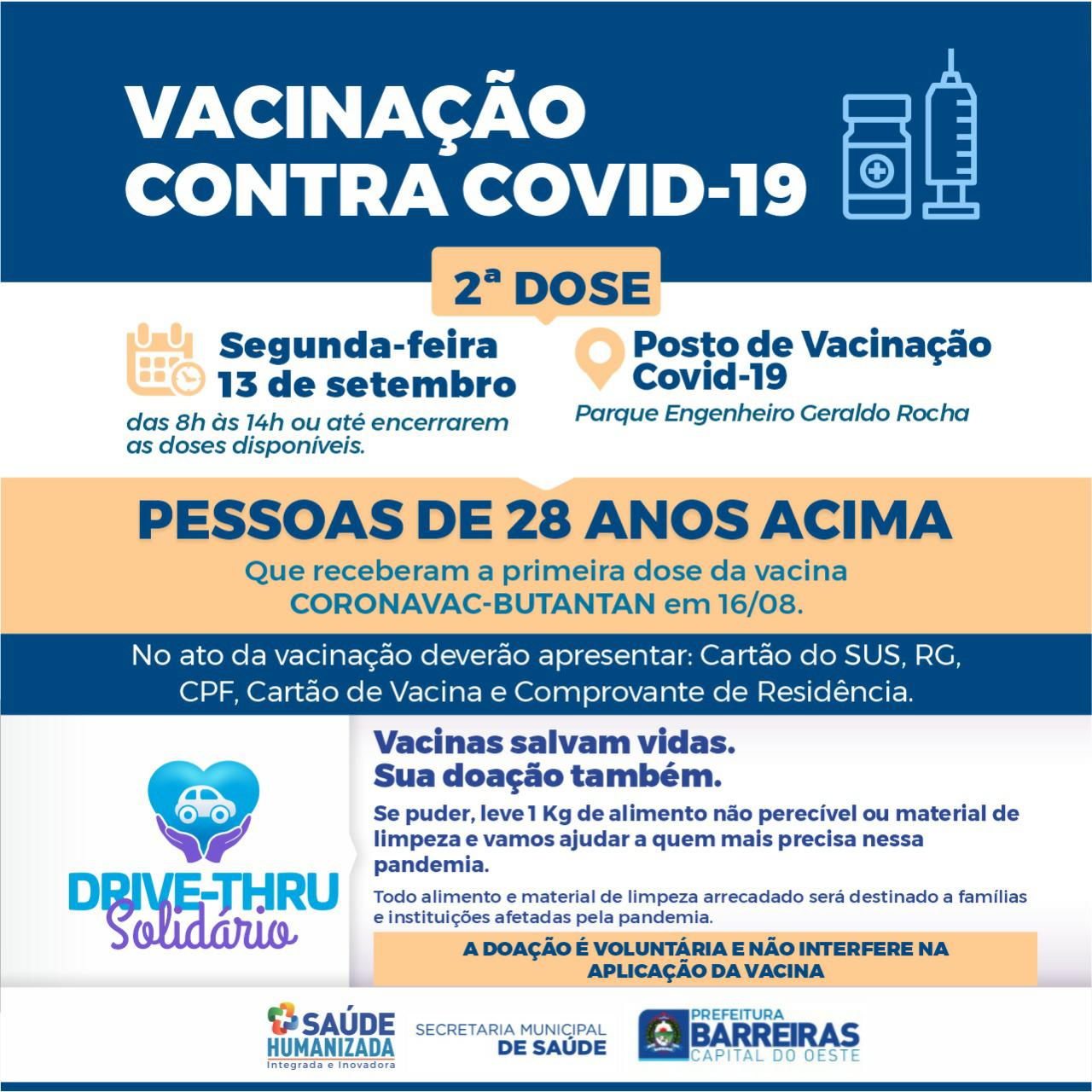 vacinação contra Covid 19 será retomada nesta segunda em Barreiras