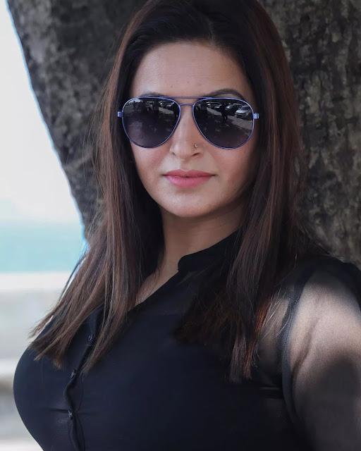 Sonali Phogat in black dress