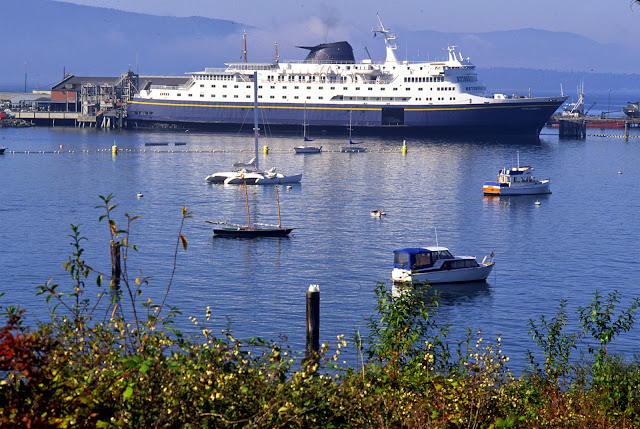 Bellingham hosts the Columbia, a 931-passenger ferry, which serves the Southeast Alaska panhandle.Credit: Jon Brunk
