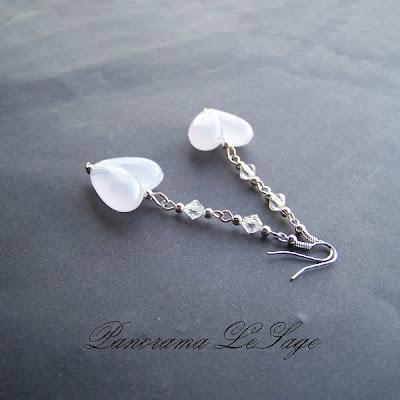 kolczyki długie wiszące serca koraliki Panorama LeSage ślubne biżuteria ślubna