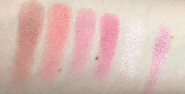 swatches of the blush and highlight palette